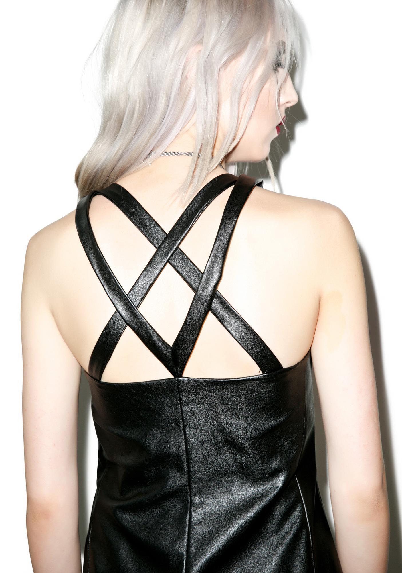 Disturbia Wicca Vegan Leather Dress