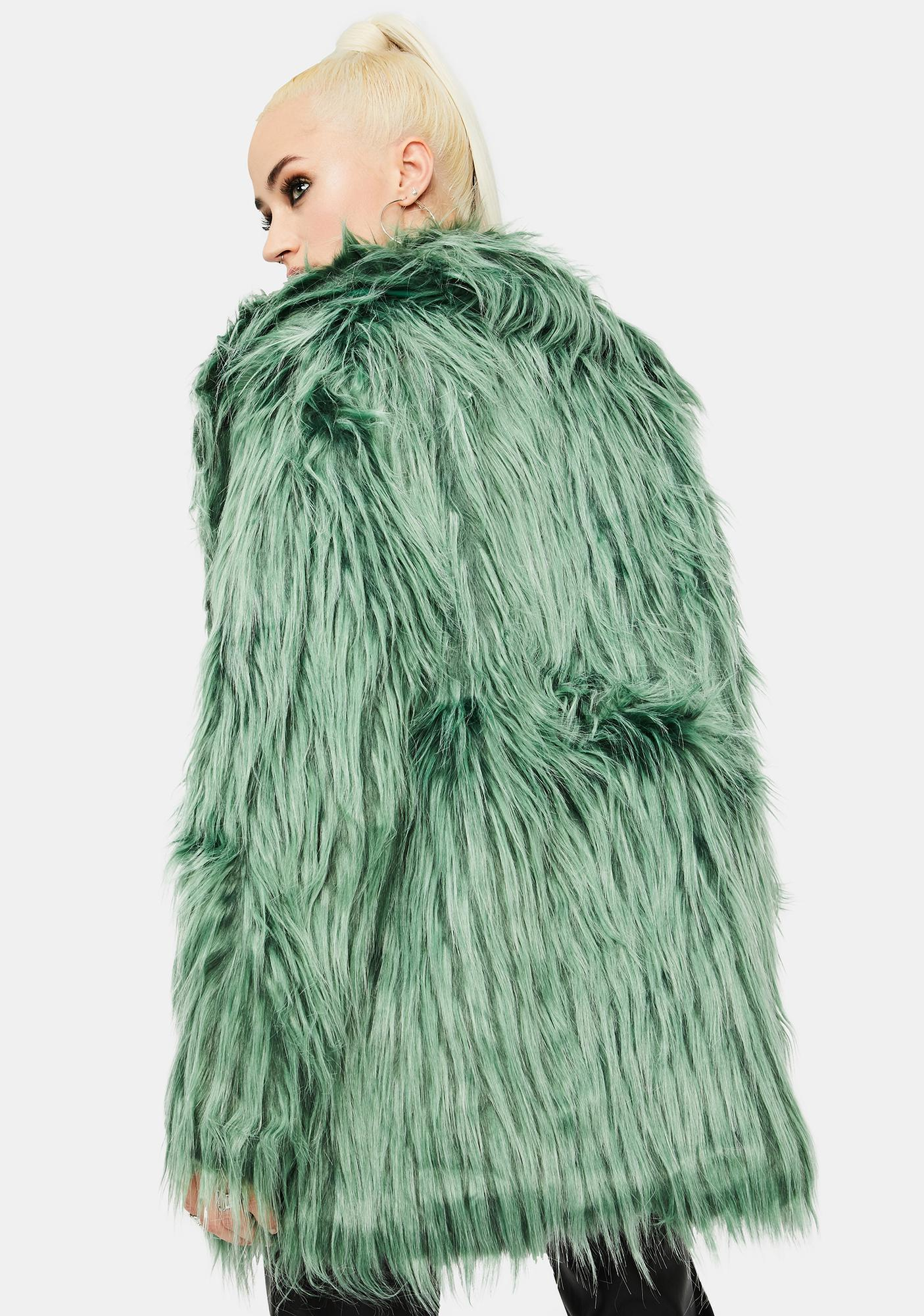 Glamorous Green Shaggy Faux Fur Coat