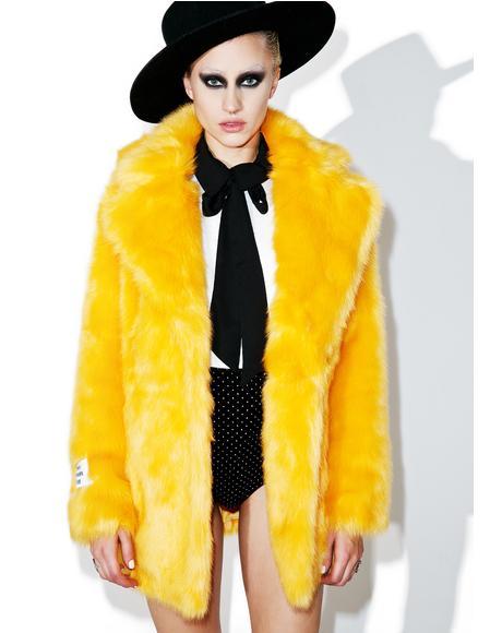Heather Fuzzy Faux Fur Coat