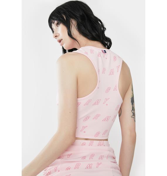 GRIMEY Urmah Dojo Pink Printed Crop Tank