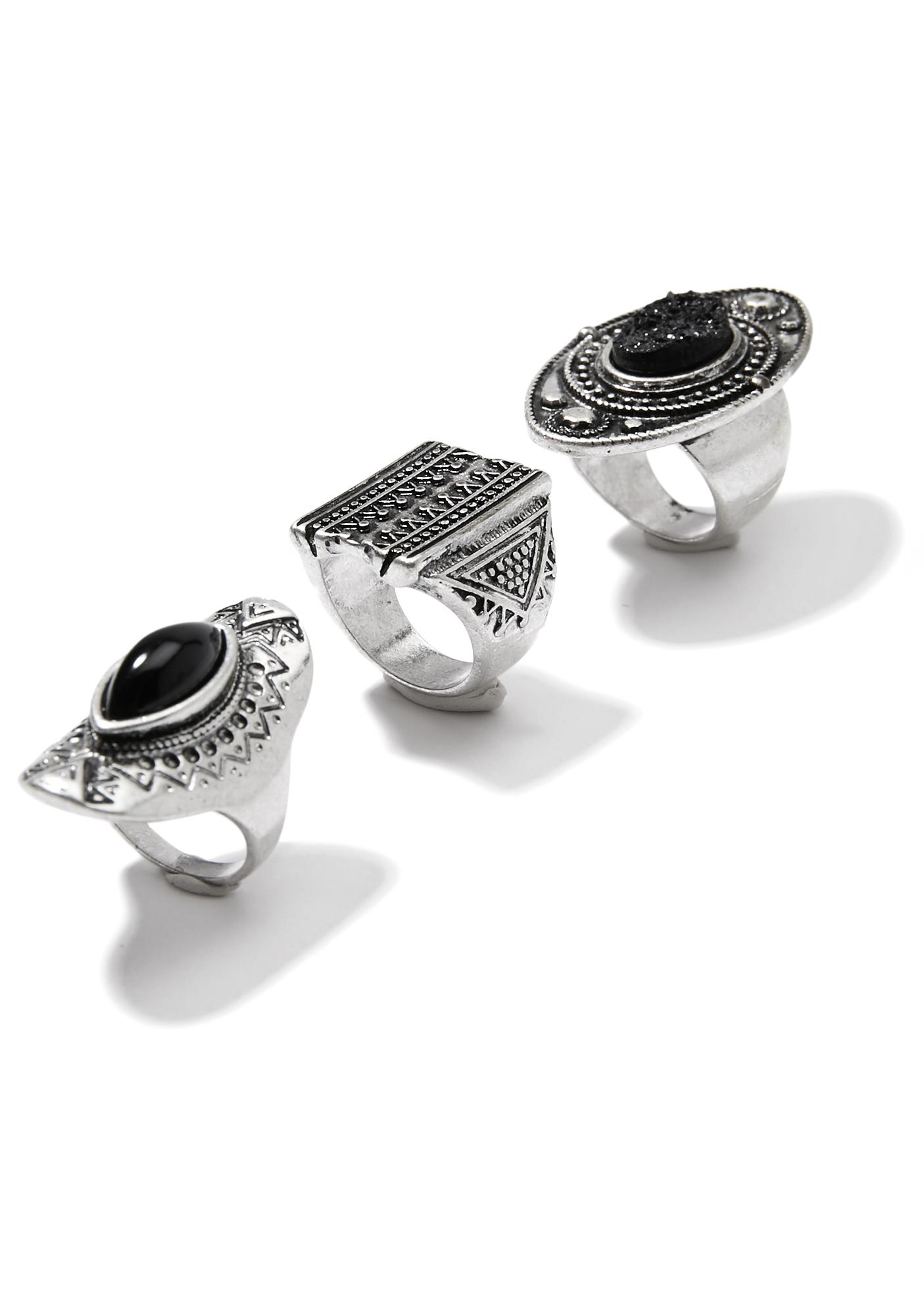 Black Widower Ring Set