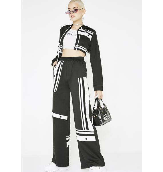 Black White Breakaway Pants Set  7a205e3ed