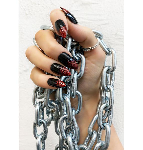 SHRINE Red Glitter Black Press On Nails