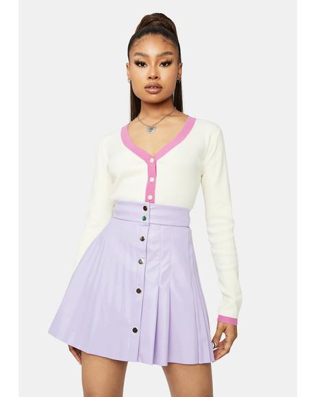 Lilac Satisfy My Vibe Vegan Leather Mini Skirt