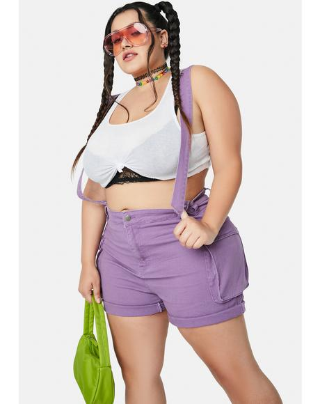 Grape She's Either Right Or Wrong Shortalls