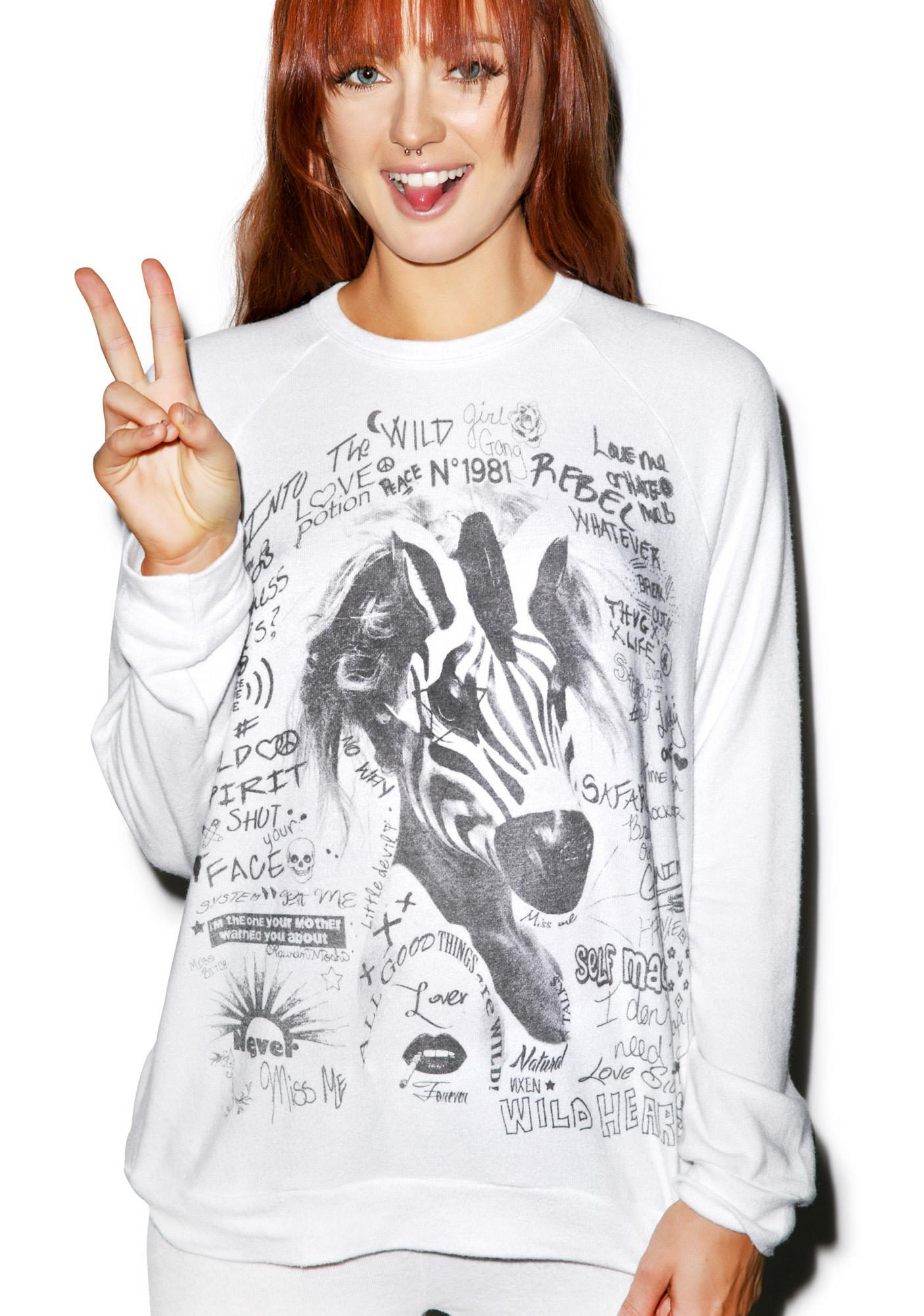 Lauren Moshi Lovie Wild Zebra Boyfriend Sweater