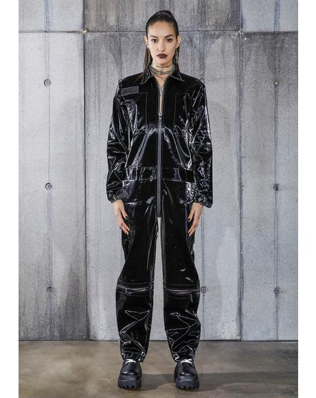 Snare Wet Look Zip-Up Utility Jumpsuit