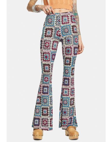 Hippie Paradise Crochet Print Flares
