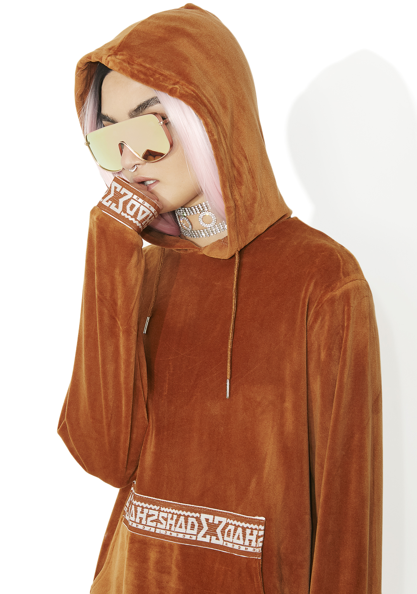 Shade London Rust Velour Hooded Sweat