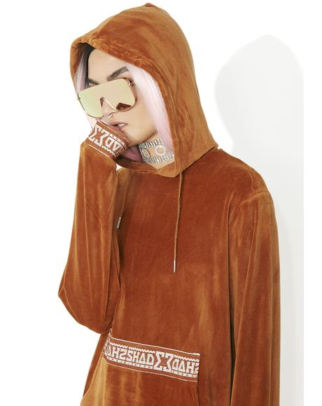 Rust Velour Hooded Sweat
