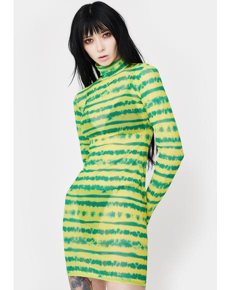 Lime Drenched In Sunshine Mesh Dress