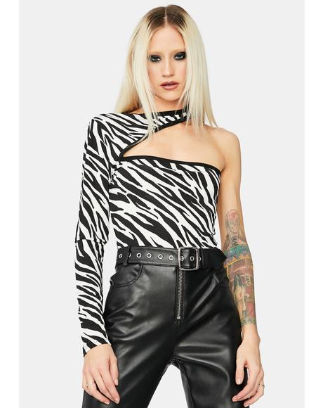 Trust your Instincts Zebra One Long Sleeve Crop Top