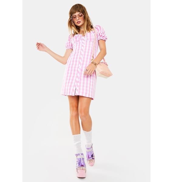 Glamorous Pink Gingham Ladies Mini Dress