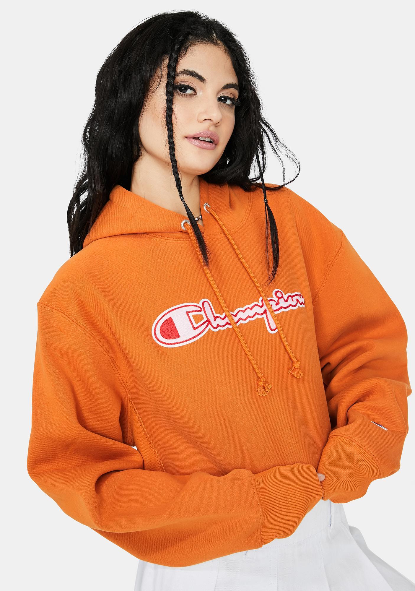 Champion Reverse Weave Cropped C Logo Hoodie
