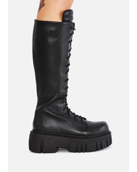 Bassline Leather Combat Boots