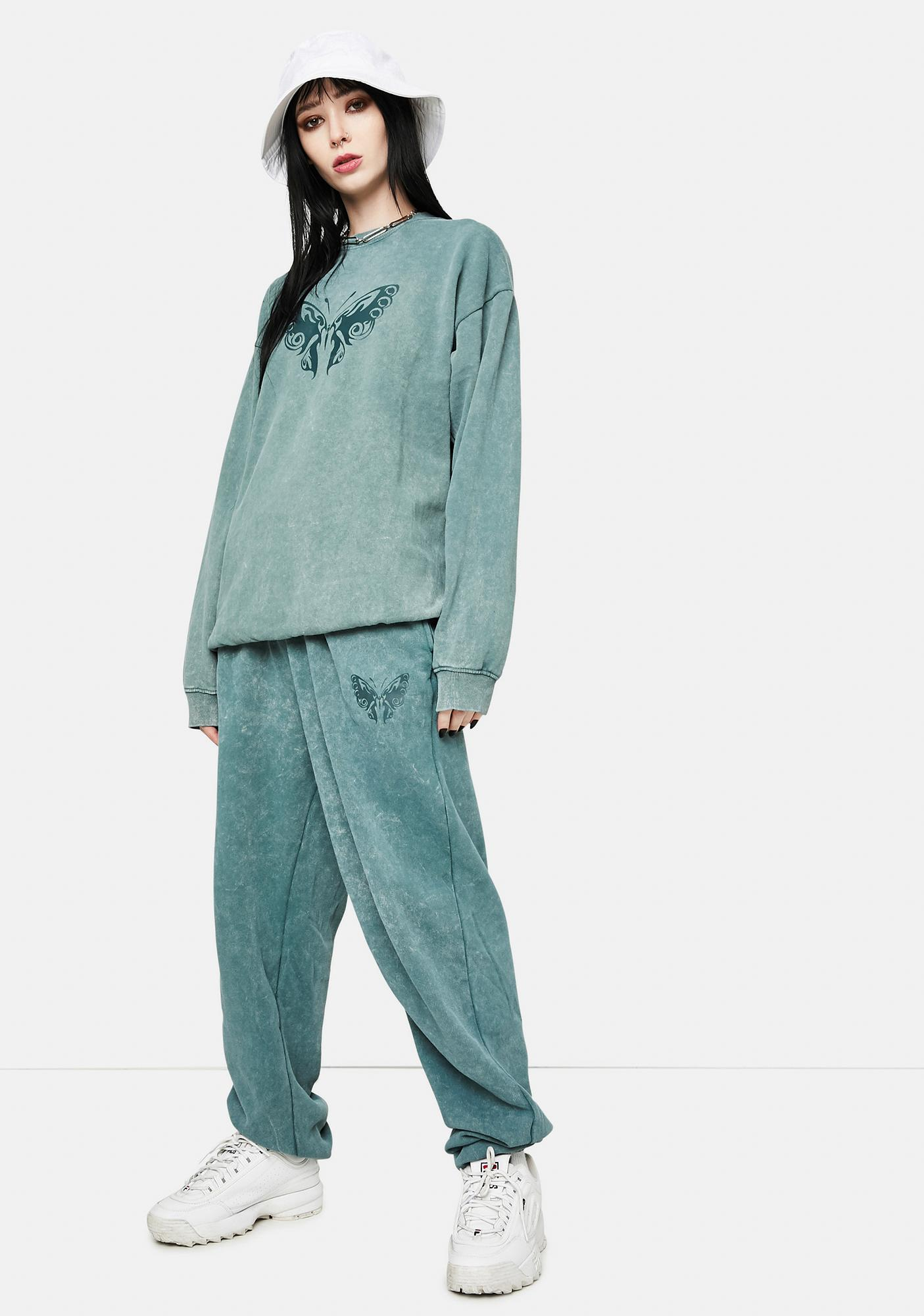 Daisy Street Megan Washed Green Sweatpants