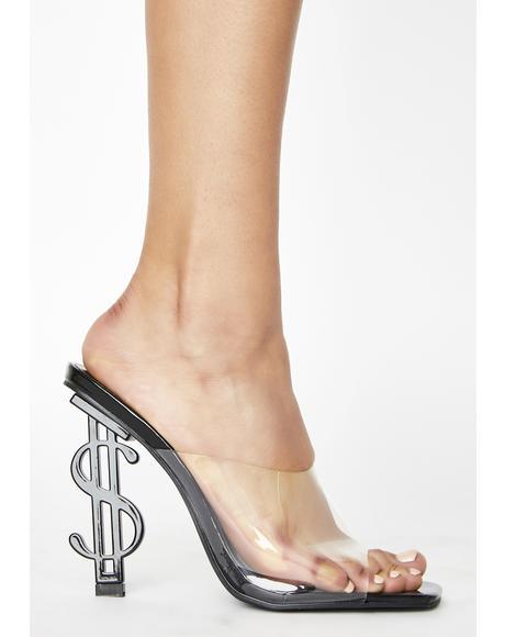Black Cash Mule Heels