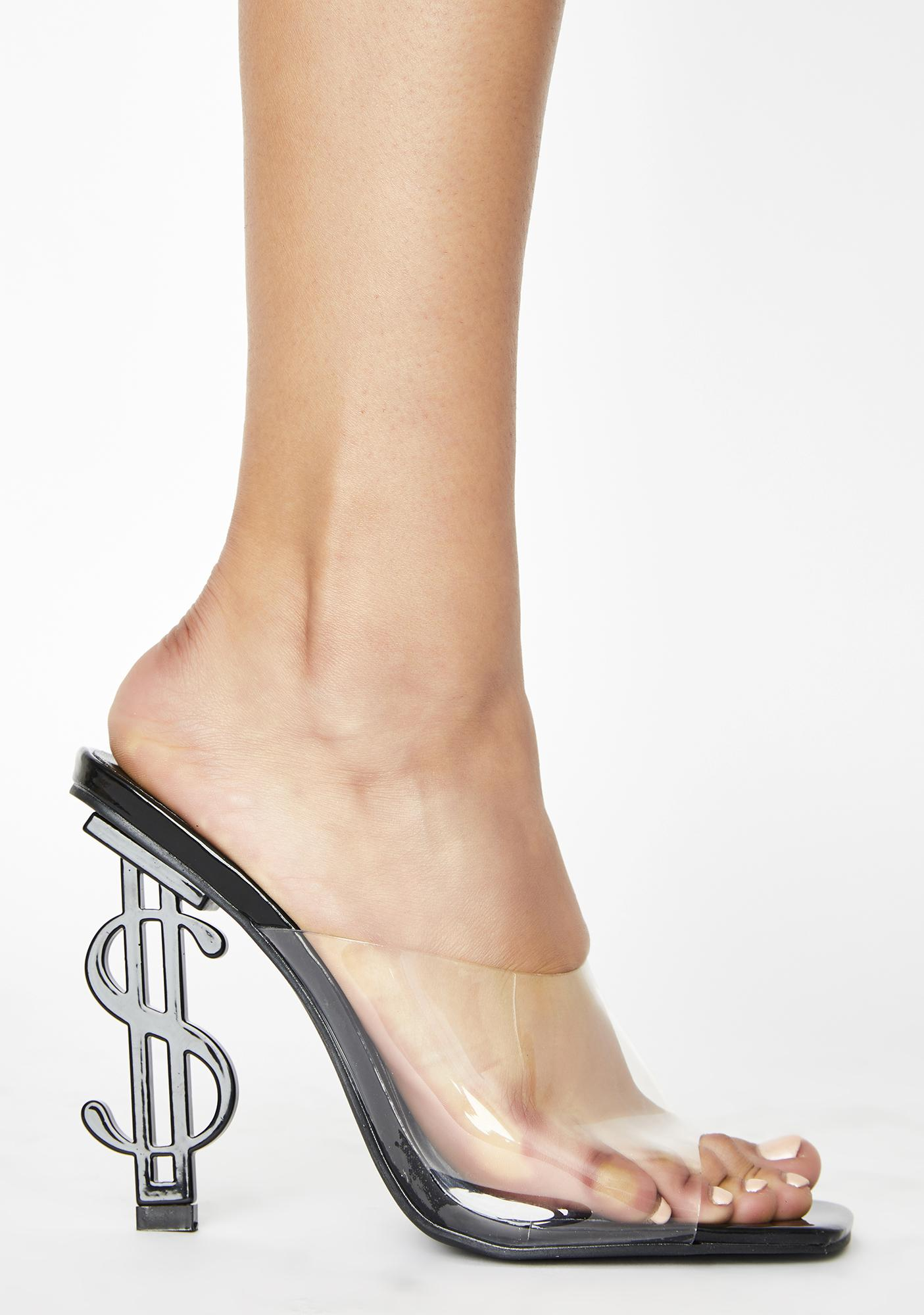 Public Desire Black Cash Mule Heels