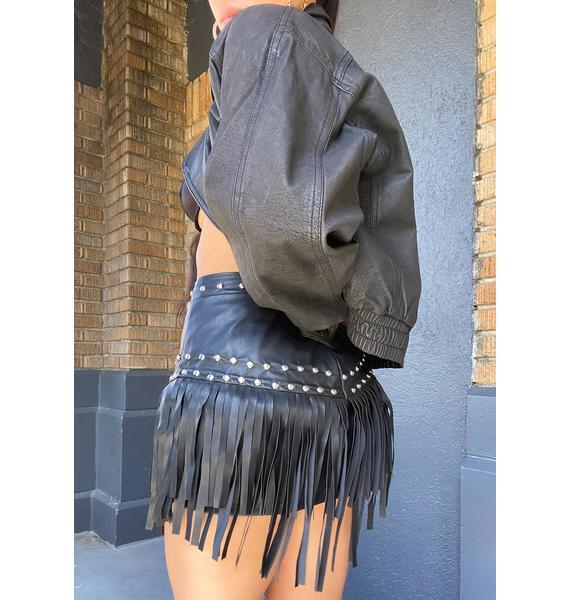 Ebonie N Ivory Faux Leather Fringe Mini Skirt