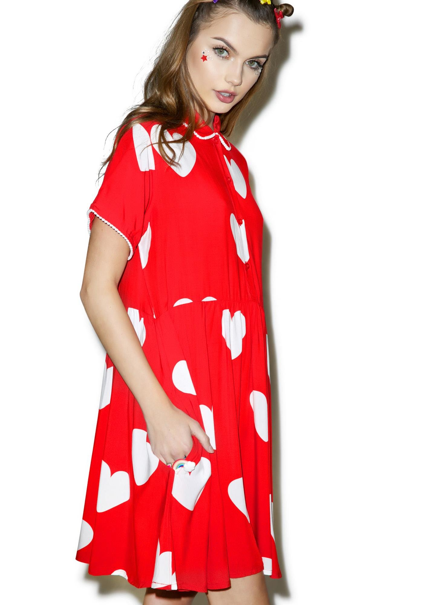 Lazy Oaf Red Heart Dress - Dolls Kill