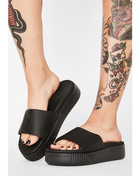 Black Platform Slides