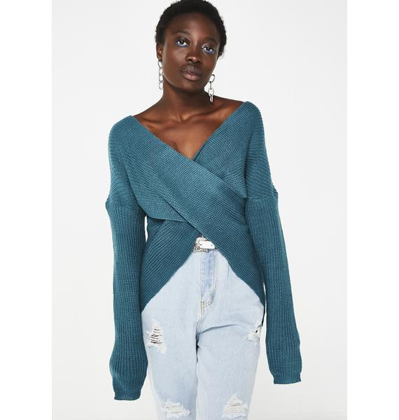 Teal Move Along Wrap Sweater
