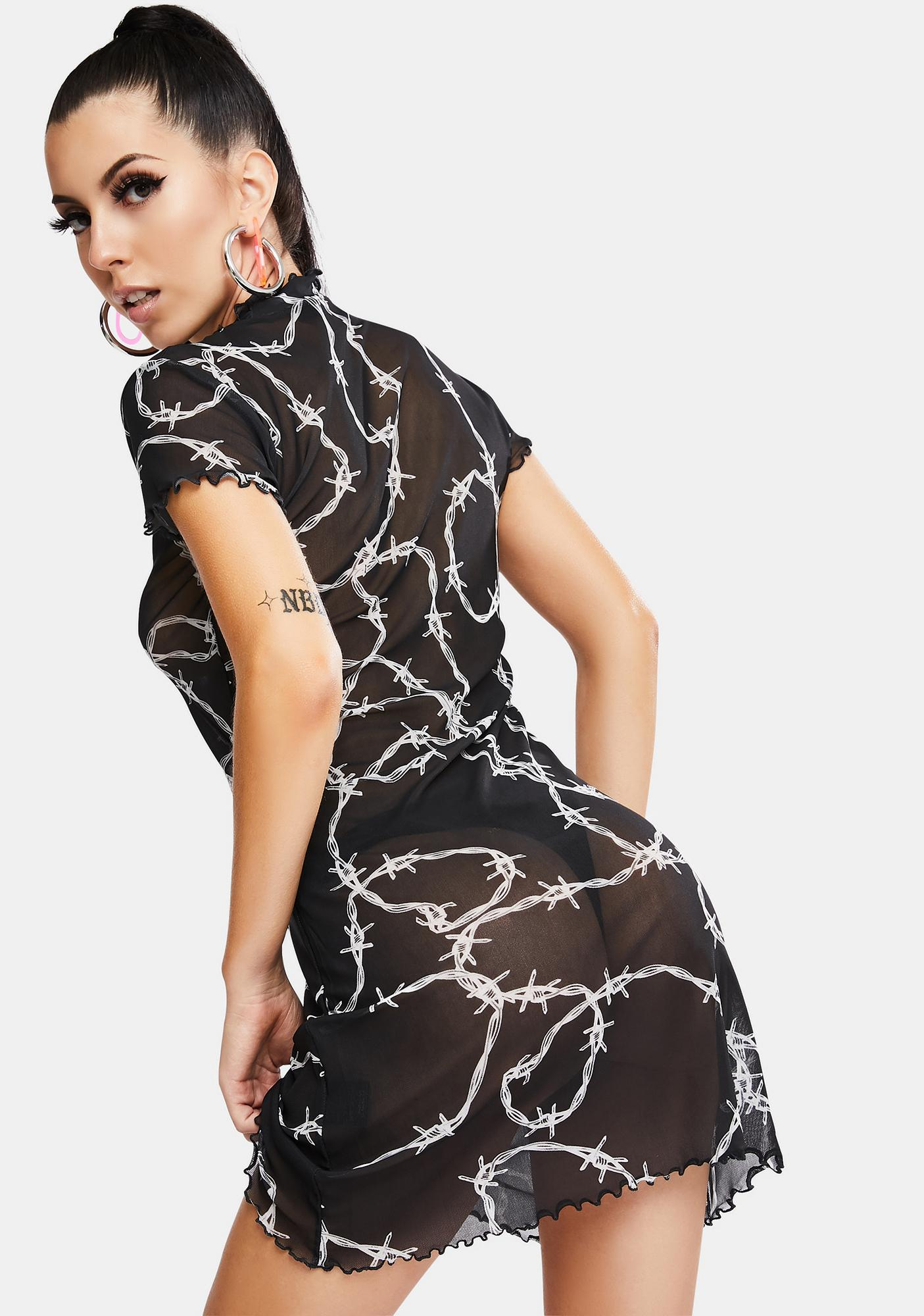 Jaded London Barbed Wire Print Sheer Mini Dress