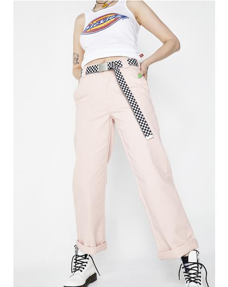 Blush Work Crop Roll Hem Pants