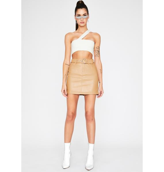 Tan Start Up Belted Skirt