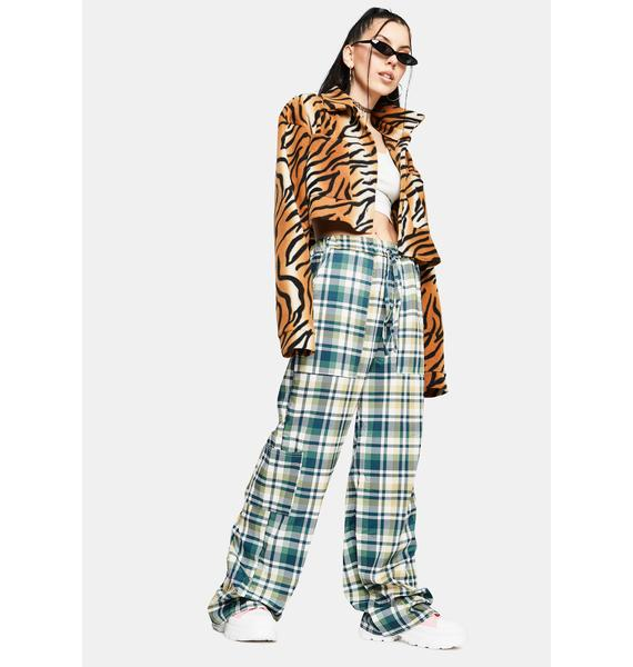 NEW GIRL ORDER Green Check Wide Leg Trousers