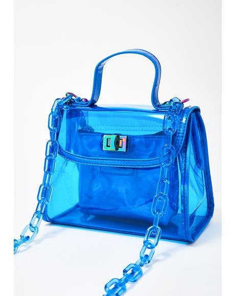 Clear Blue Chain Purse