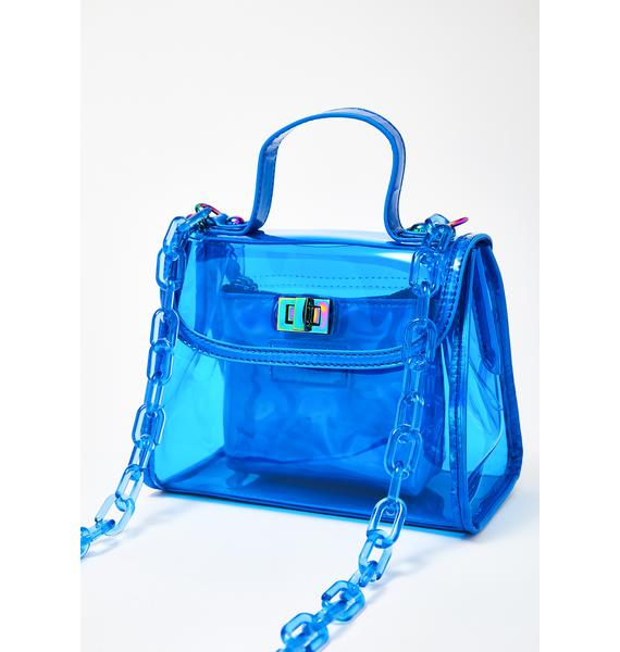 Like Dreams Clear Blue Chain Purse