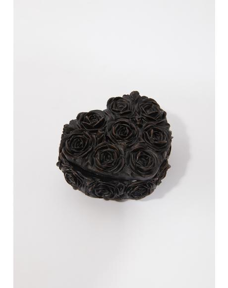 Black Rose Heart Box