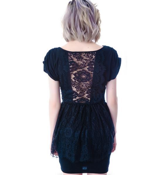 Widow Unveil Me Lace Peplum Dress