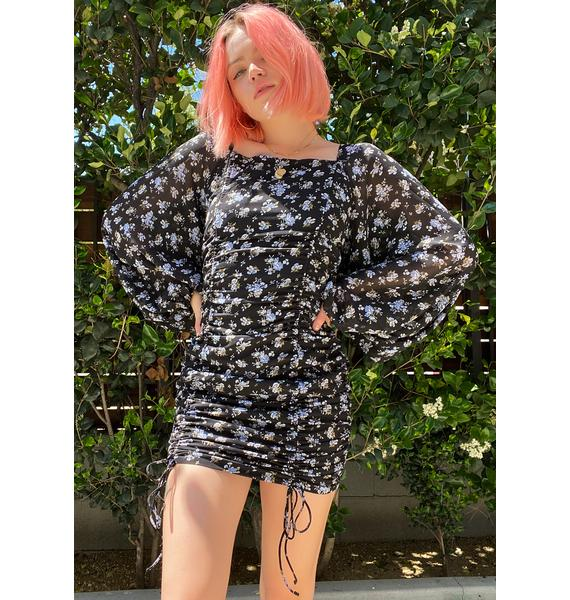 Midnight Roses In Bloom Floral Sundress
