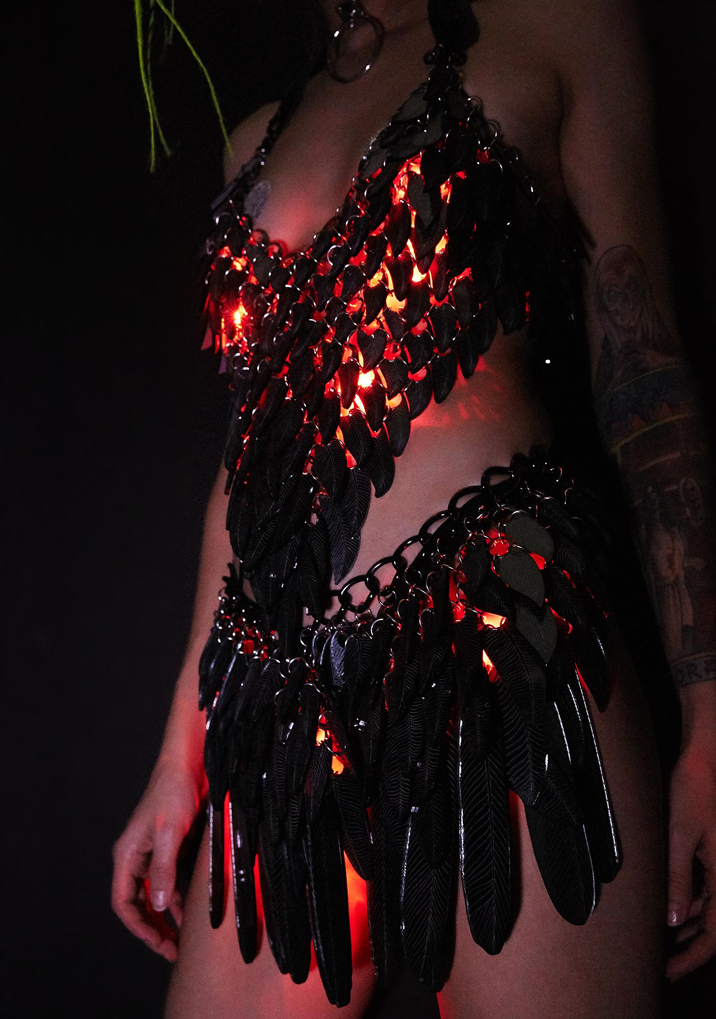 Electric Candy Couture Dragon Black And Red Light-Up Skirt