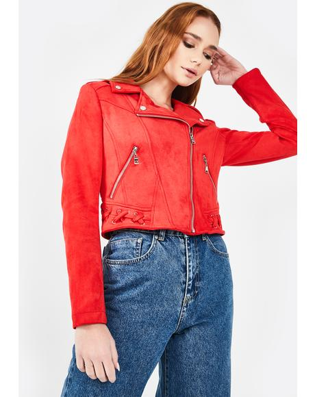 Red Faux Suede Moto Jacket