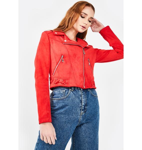 Molly Bracken Red Faux Suede Moto Jacket