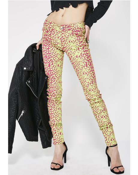 Neon Leopard Print Skinny Jeans