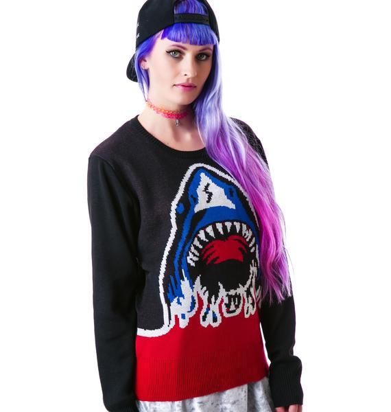 Halfman Romantics Shark Attack Crew Knit Sweater