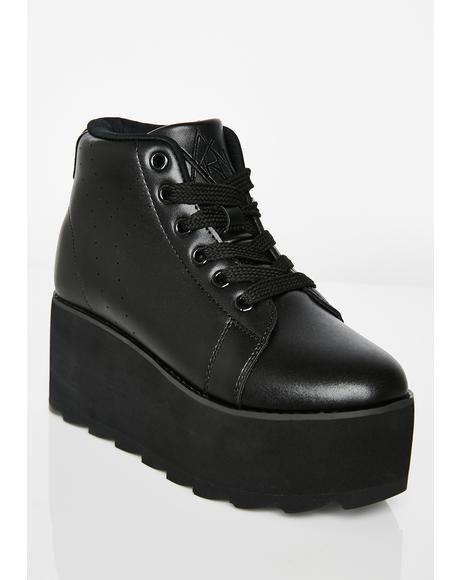 Lala Hi Black Platform Sneakers
