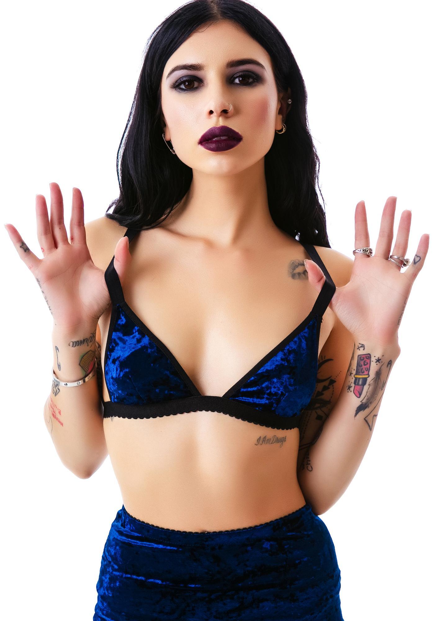 Widow Velvet Triangle Bralette Bikini Top