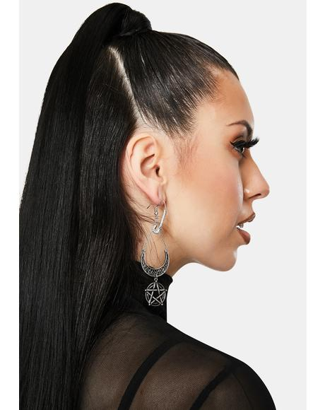 Penta Hex Moonlight Drop Earrings