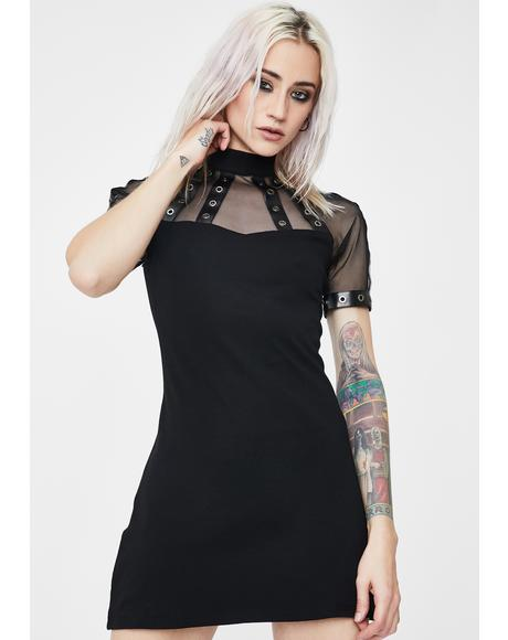 Punk Mesh Collar Tee Dress