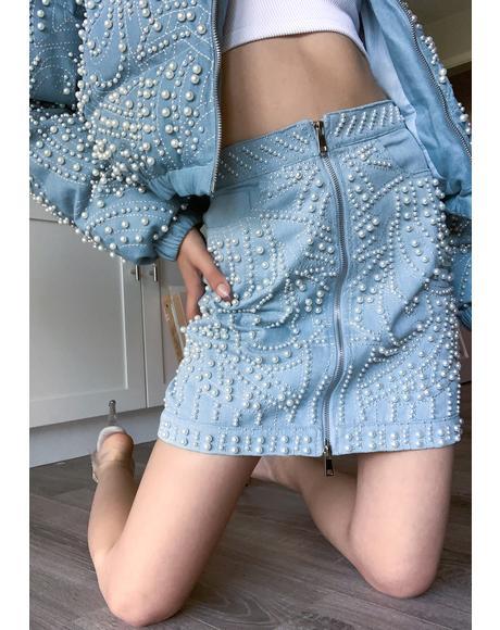 Alix Pearl Denim Mini Skirt