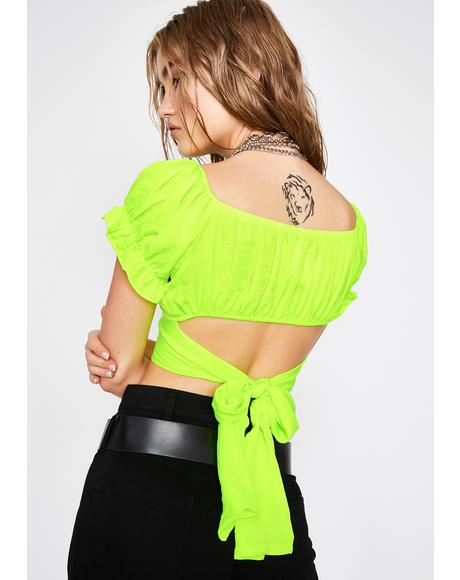 Chartreuse Bae Material Crop Top