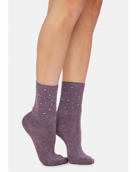 Mauve Treasure Me Pearl Studded Crew Socks