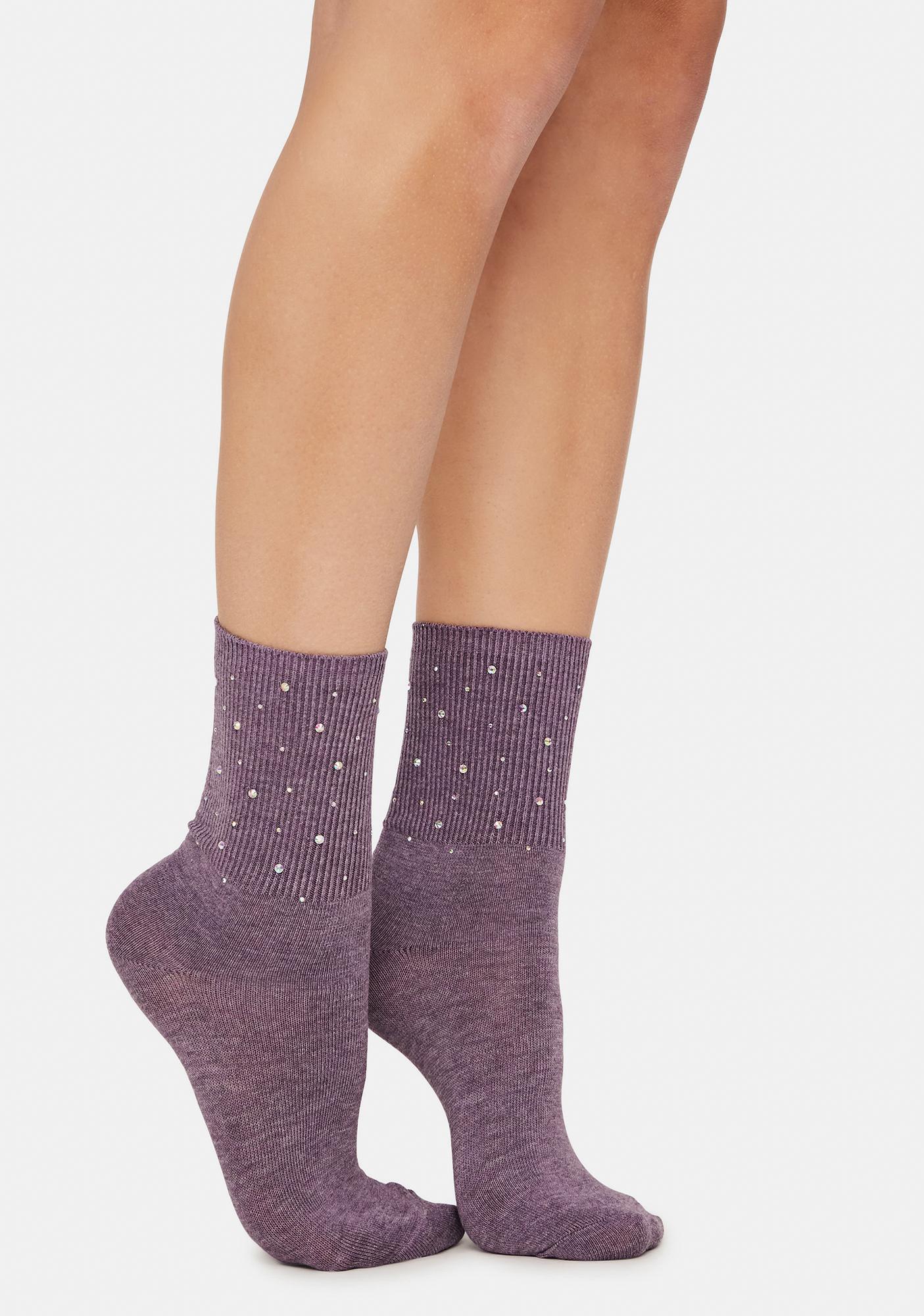 Mauve Treasure Me Pearl Studded Crew Socks