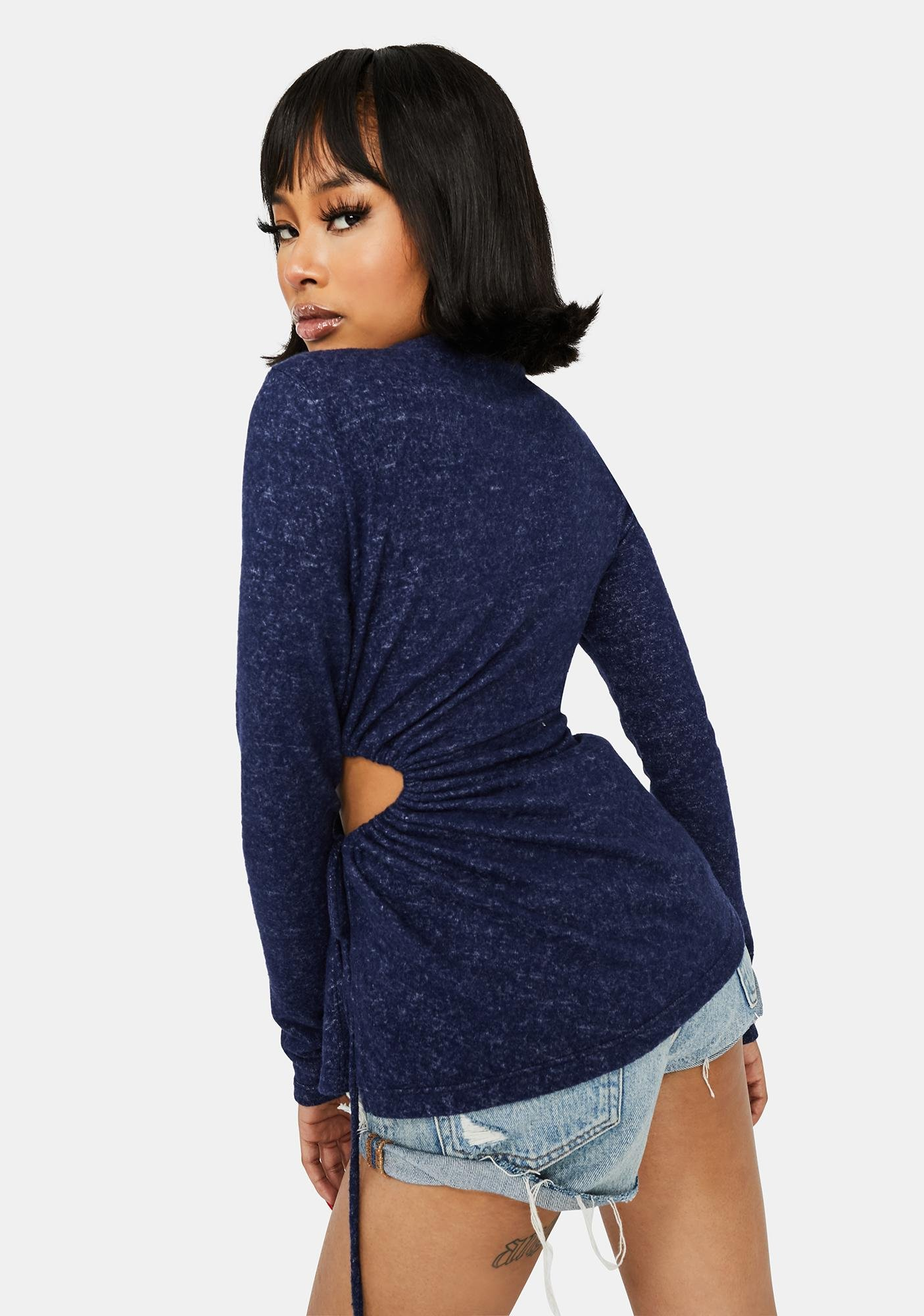 Navy Slight Tease Long Sleeve Ruched Top