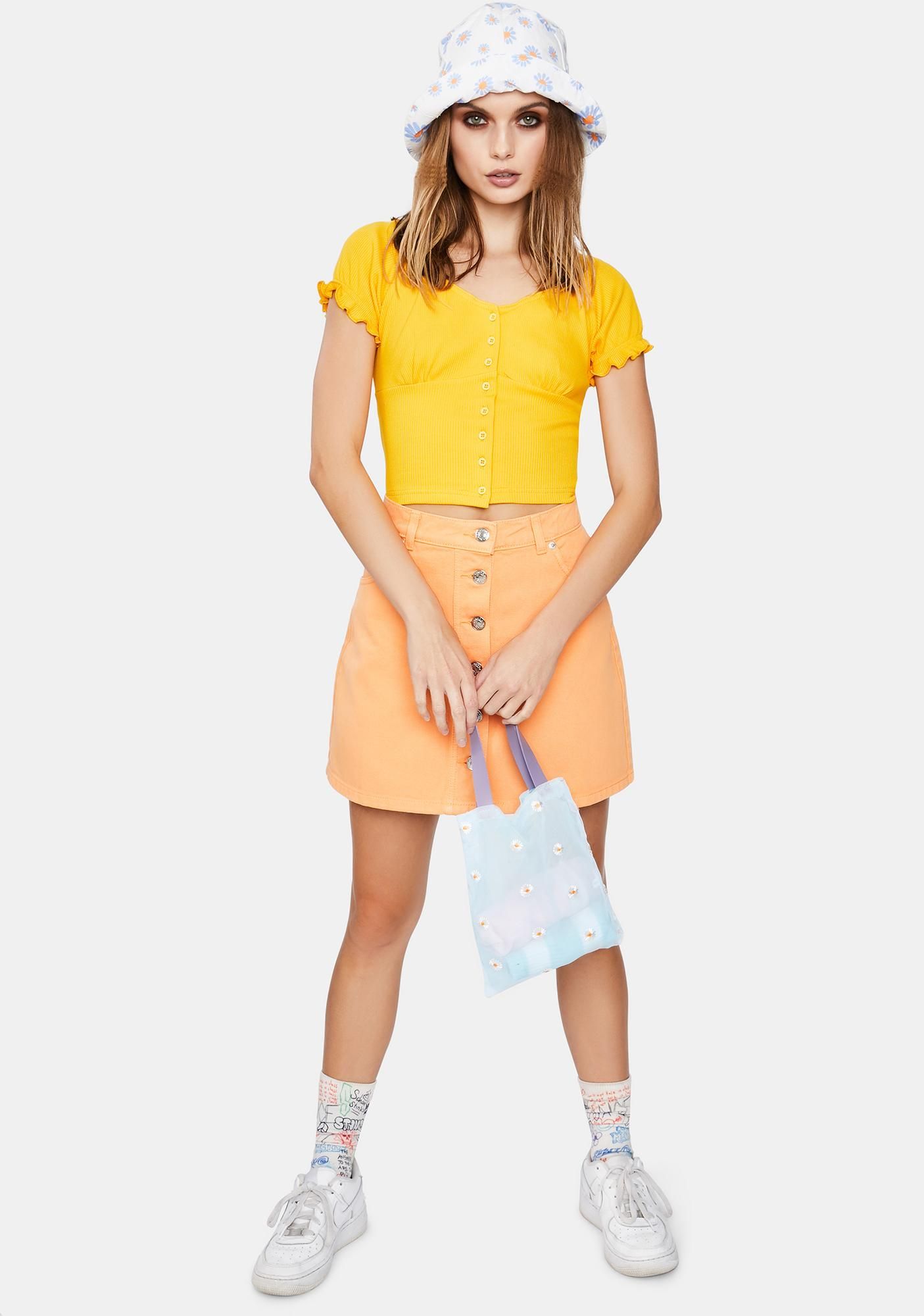Minga Yellow Button Front Milkmaid Crop Top